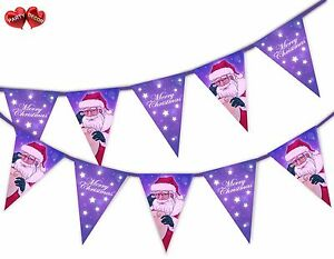 Santa-Claus-list-purple-Merry-Christmas-Bunting-Banner-15-flags-by-PARTY-DECOR