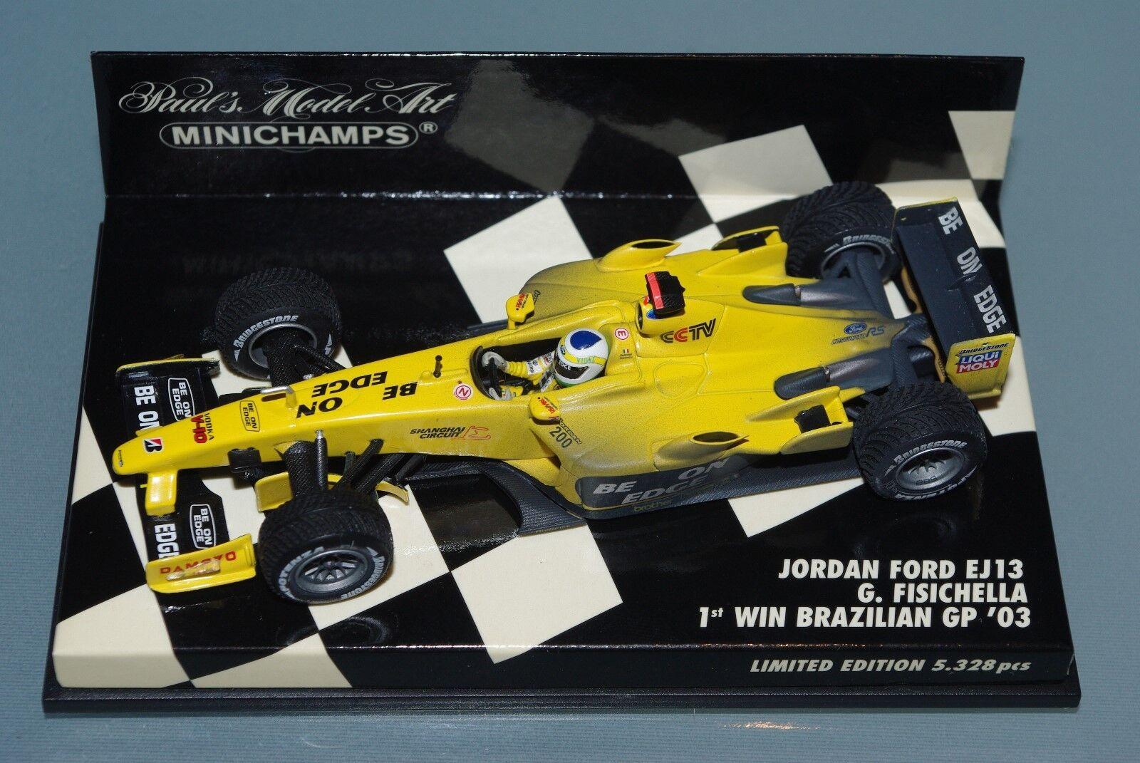 Minichamps F1 1 43 JORDAN FORD EJ13 - FISICHELLA - 1st WIN BRAZILIAN GP 2003