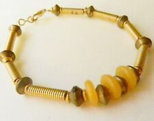 """One-Of-A-Kind~Artisan BRACELET~Amber Discs & Brass Coils~African Style~8"""" long"""
