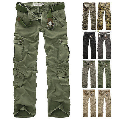 Combat Men's Cotton Cargo ARMY Pants Military Camouflage Camo Trousers