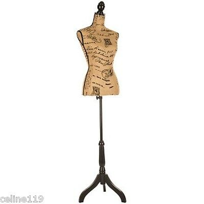 Printed Burlap Mannequin over 5 feet tall,Shabby Chic Artistic Bedroom Decor NEW