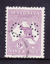 AUSTRALIA 1914 Official SG024 9d violet - punctured OS - fine used. Cat £50