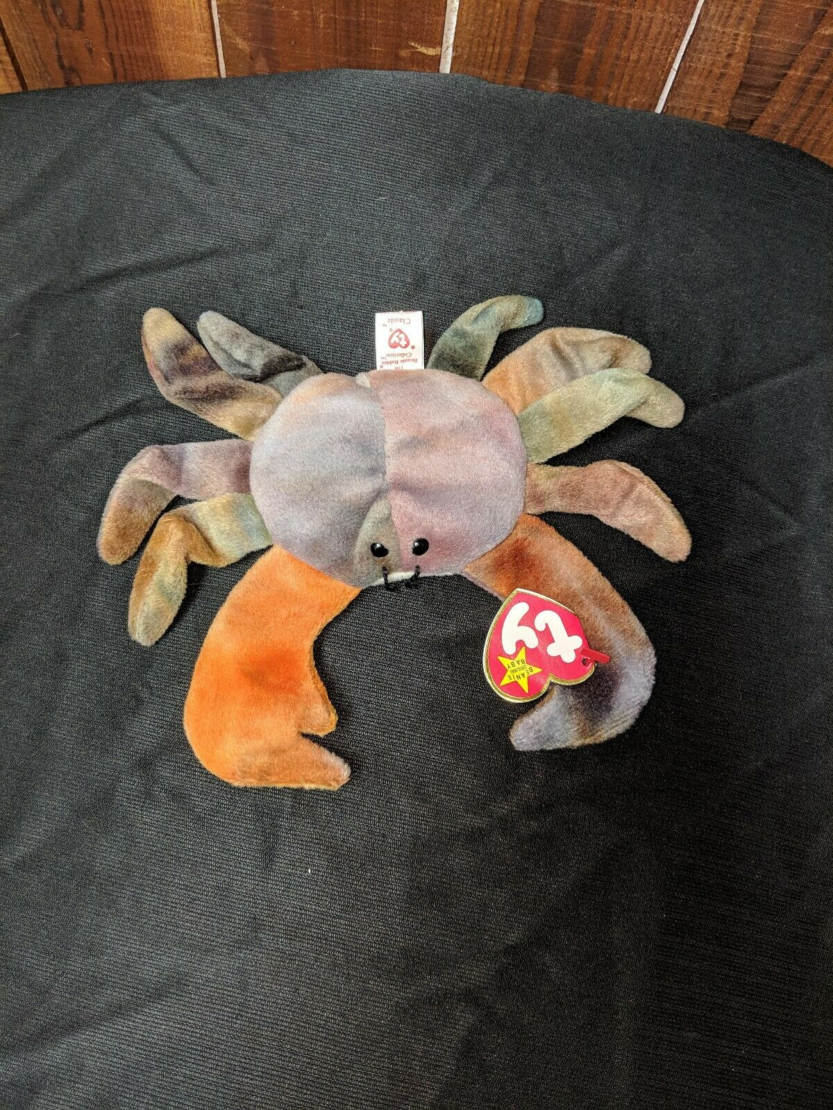 Ty Beanie Baby CLAUD the Crab w  Tag ERRORS Plush Toy RARE PVC NEW RETIRED 1996