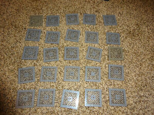 Lego Lot of 25 dark gray Plates Modified 8 x 8 with Grille and Hole