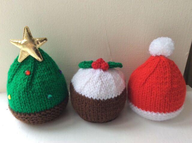 Christmas Tree Santa Hat Pud Cover Chocolate Orange Knitting Pattern