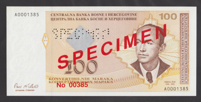 BOSNIA  50 Convertible Maraka ND1998 UNC  SPECIMEN  P69s  PERFORATED