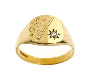 Diamond Signet Ring Gents Solid Gold Signet Ring Men S Jewellery