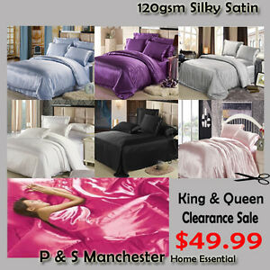 New-Silk-Soft-Satin-Queen-King-Quilt-Cover-Sheet-Set-Flat-Fitted-Pillowcases