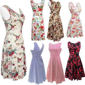 Women-50s-60s-Vintage-Retro-Peony-Floral-Rockabilly-Evening-Party-Swing-Dress