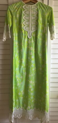 Vtg 70s THE LILLY PULITZER Green & Yellow Floral L