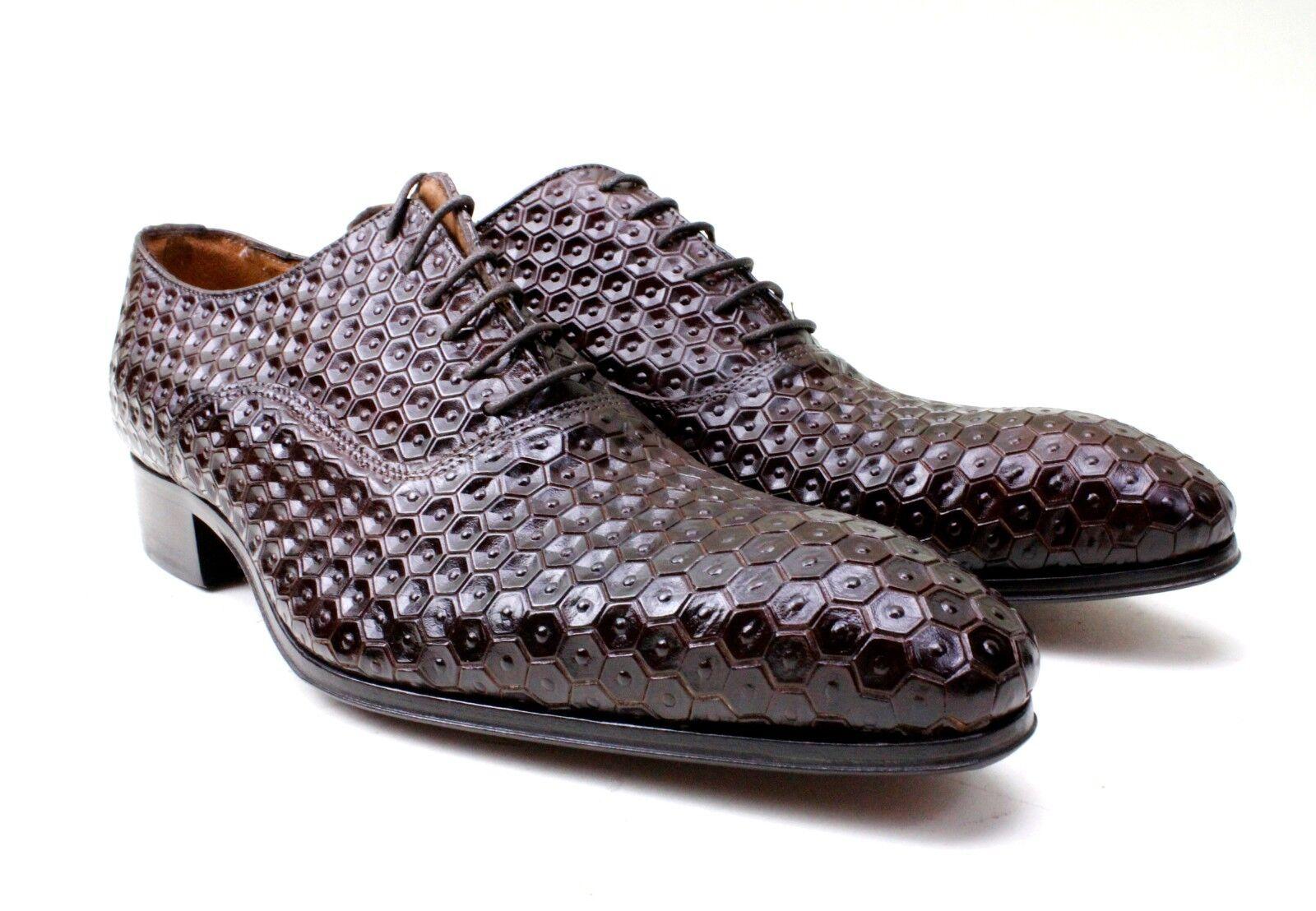 Ivan Troy Marrón Baye Hecho a Mano Cuero Italiano Zapatos Vestido Oxford