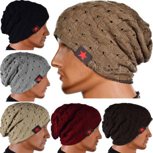 Unisex Knitted Crochet Slouch Cap Baggy Beanie Wool Fleece Warm Hat 8 Colors US