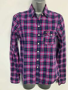 WOMENS-HOLLISTER-BLUE-amp-PURPLE-CHECK-CASUAL-LONG-SLEEVE-SHIRT-BLOUSE-TOP-SIZE-S