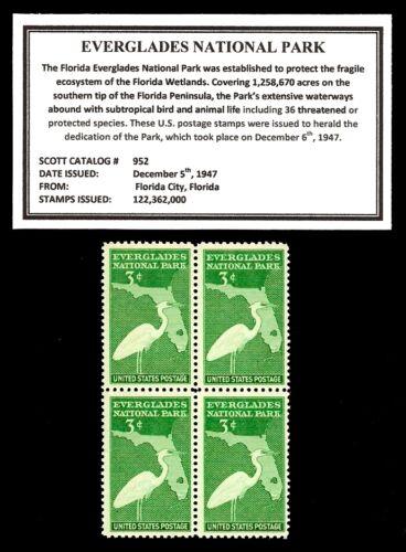 1947 - EVERGLADES NATIONAL PARK - Mint Block of 4 Vintage Postage Stamps