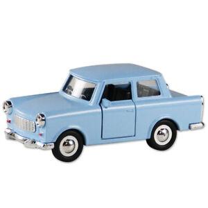 Trabi-Trabant-Limousine-blau-Modellauto-DDR-Metall-12-cm-NEU