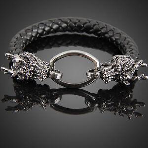 ee1c3d09a97 Homme Cool Bracelet Cuir Bague Dragon 21mm Bande Noir Tresse Mode ...