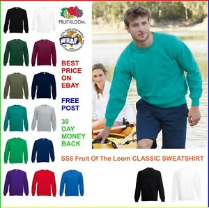 FRUIT-OF-THE-LOOM-Classic-Raglan-SWEATSHIRT-SS8-Jumper-Top-Hoody-13-Colours