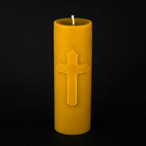 """Large Cross Pillar Candle 3/""""x9/"""" Pure Beeswax"""