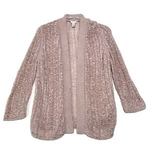 Chico-039-s-Sz-2-Open-Front-Acrylic-Nylon-Cardigan-Womens-L-Large-Peach-Pink-READ