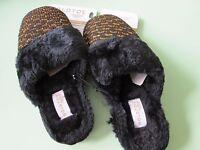 Goldtoe-women's Black/gold Slippers-outdoor Sole---xl (10-11)---msrp $28.00--new