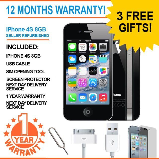 Apple iPhone 4S 8GB Black Factory Unlocked SMARTPHONE