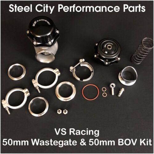 VS Racing VSR 50mm Wastegate /& VSR 50mm Blow Off Valve BOV Complete COMBO Kit