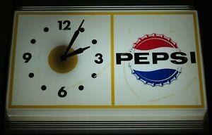 Vintage Pepsi Light-Up Clock Beverage Soda Wall Sign Working