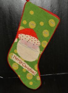 Vtg-wool-needlepoint-Christmas-stocking-green-w-SANTA-amp-Merry-Christmas-18-034