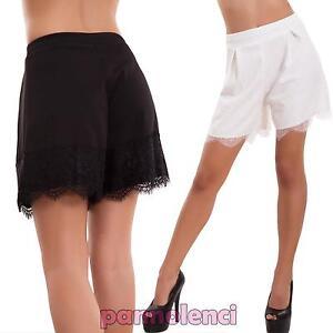 645afe0c509dd3 Pantaloncini donna shorts ampi morbidi orlo pizzo eleganti sexy ...