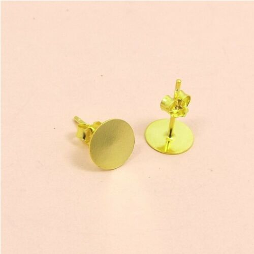 8mm Gold Filled base 925 Sterling Silver FLAT Circle Stud EARRINGS or DIY 1.5mm