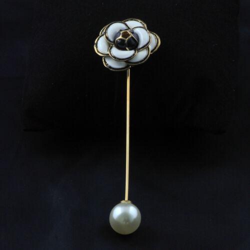 Broche Doré Fleur Camélia Email Pédale Blanc Noir Class Perle Fin Original XZ6