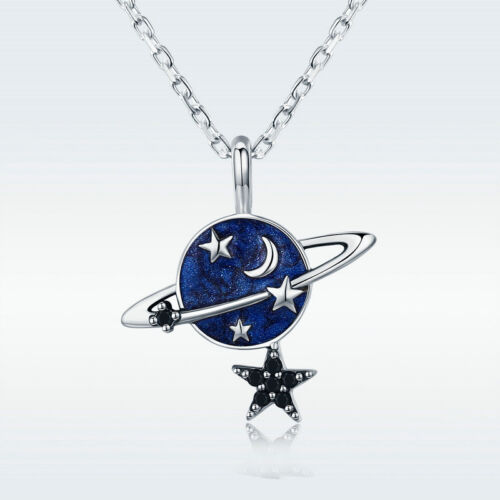 Fashion 925 Sterling Silver Planet Earth Dangle Star Balle Collier Pendentif Chaîne