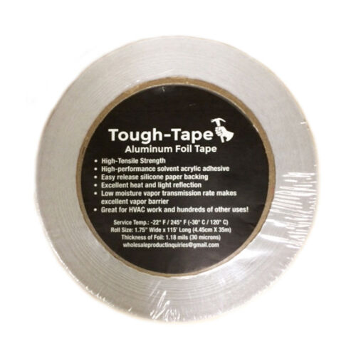 "FOR VAPOR BARRIER HVAC ETC HIGH TEMP 1 ROLL 1.75/"" x 115/' ALUMINUM FOIL TAPE"