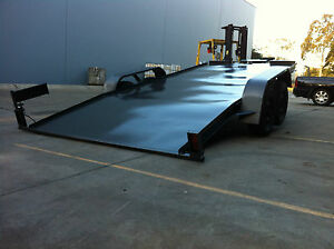 CAR-TRAILER-RAMPLESS-TANDEM-AXLE-HYDRAULIC-TILT-16X6-6FT-2T-NO-RAMPS-QUICK-LOAD