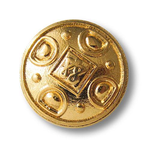 5 glänzend  goldfarbene Metall Ösen Knöpfe mit elegantem Relief Muster 3090gg