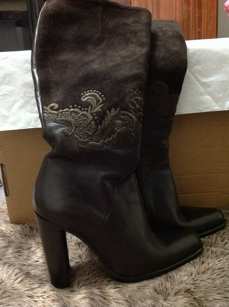 Women's luxury Angela Falconi Brown  Tall Leather Boots Size  6,5 Made in Italy)