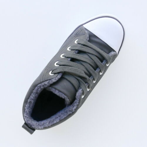 GIRLS GREY TRAINERS SHOES LACE UP WHITE TOE FUR LINED SIZES 13,1,3,4 BY RENEGADE