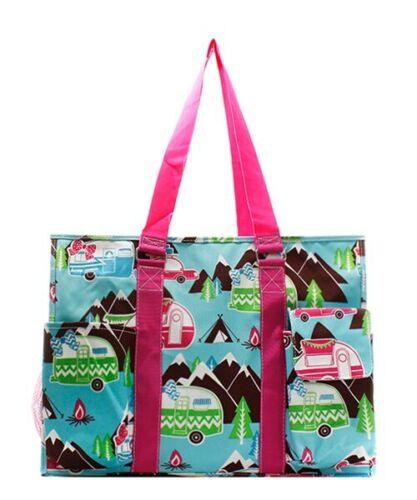 Zip Top Utility Tote Organizer w//pockets purse bag craft NWT FREE SHIP Camper P