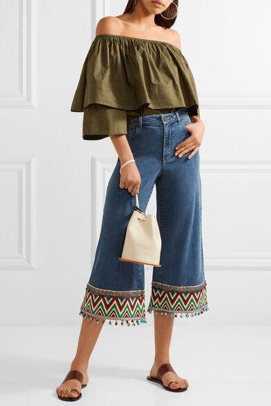 Nuevo con etiquetas Alice + Olivia beta de  la alta cintura recortada Jeans Tamaño 27  diseño único