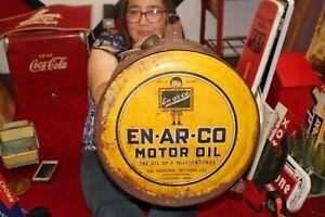 Vintage 1920's En-Ar-Co Motor Oil 5 Gallon Metal Rocker Can Gas Station Sign