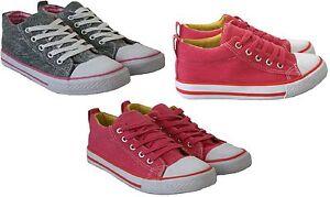 Nuevo Para Niños Niñas Niños plana Plimsolls Bombas De Lona Con Cordones Zapatillas Zapatos