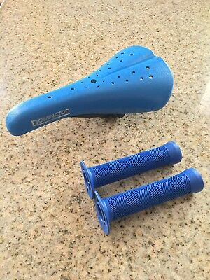 NEW Viscount Dominator BLUE Old School BMX Bicycle Seat Hard Shell Saddle CLAMP