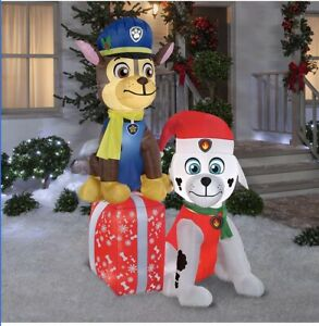 Gemmy-PAW-PATROL-Chase-amp-Marshall-Presents-Airblown-Christmas-Inflatable-7-FT