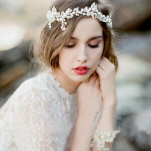 Women-Lady-Girls-White-Wedding-Bride-Pearl-Silver-Hair-Headband-Hoop-tiara-Prop
