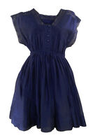 Whistles Sleeveless Navy Cotton/Silk Mini Dress Elasticated Waist Lace Detail