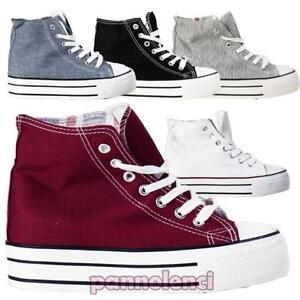 Deporte Cuña Gimnasia De Mujer Zapatos Cordones Zapatillas Lona wyFO4ayqBA