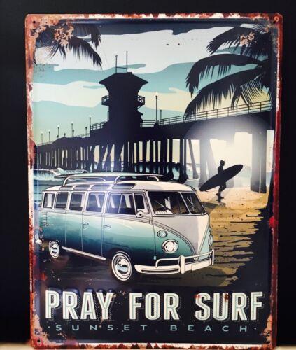Large 40cmx30cm VW Volkswagen Kombi Van Wall Plaque Surf Metal Blue Ocean Art