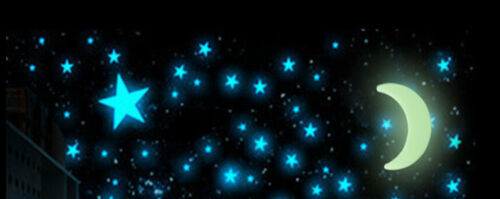 """PKG of 200 GLOW IN THE DARK 1.25/"""" to 1.5/"""" BLUE YELLOW or MULTI-COLORED STARS"""