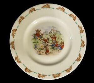 Vintage-Royal-Doulton-Bunnykins-Seesaw-Bunnies-8-034-Child-039-s-Salad-Plate