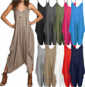 0244b605b7a1 Image is loading Womens-Cami-Romper-Lagenlook-Baggy-Harem-Jumpsuit-Playsuit-